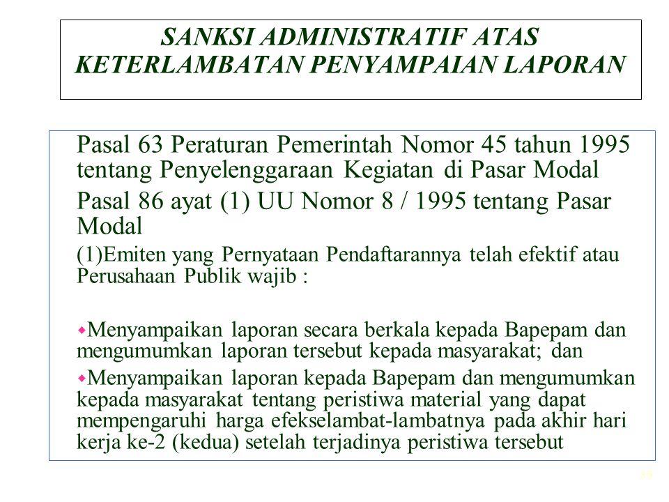 39 SANKSI ADMINISTRATIF ATAS KETERLAMBATAN PENYAMPAIAN LAPORAN Pasal 63 Peraturan Pemerintah Nomor 45 tahun 1995 tentang Penyelenggaraan Kegiatan di P