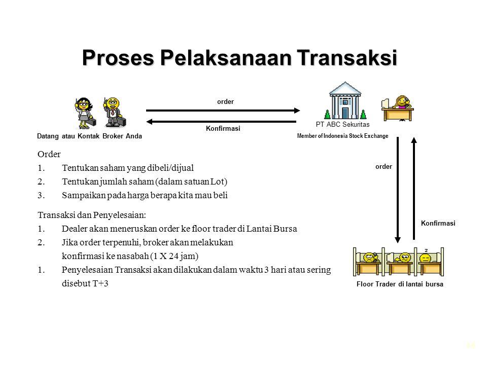 46 Proses Pelaksanaan Transaksi PT ABC Sekuritas Member of Indonesia Stock Exchange Datang atau Kontak Broker Anda Floor Trader di lantai bursa Konfir