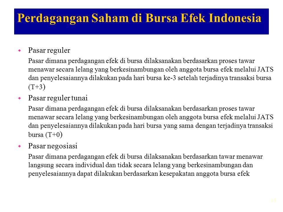 49 Perdagangan Saham di Bursa Efek Indonesia w Pasar reguler Pasar dimana perdagangan efek di bursa dilaksanakan berdasarkan proses tawar menawar seca