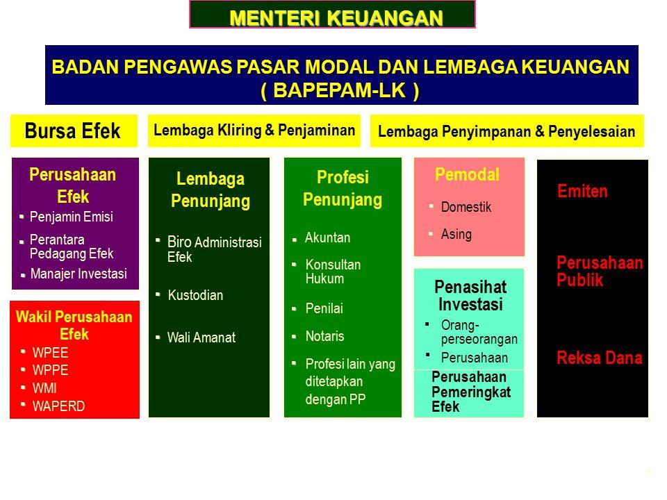 5 BADAN PENGAWAS PASAR MODAL DAN LEMBAGA KEUANGAN BADAN PENGAWAS PASAR MODAL DAN LEMBAGA KEUANGAN ( BAPEPAM-LK ) ( BAPEPAM-LK ) MENTERI KEUANGAN Bursa