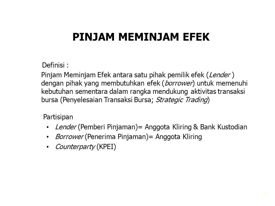 51 PINJAM MEMINJAM EFEK Definisi : Pinjam Meminjam Efek antara satu pihak pemilik efek (Lender ) dengan pihak yang membutuhkan efek (borrower) untuk m