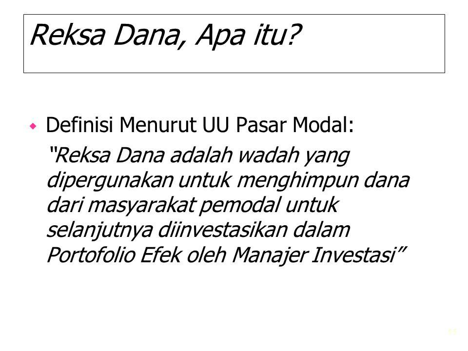 "55 Reksa Dana, Apa itu? w Definisi Menurut UU Pasar Modal: ""Reksa Dana adalah wadah yang dipergunakan untuk menghimpun dana dari masyarakat pemodal un"