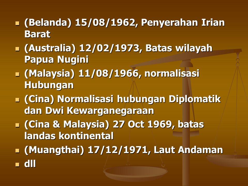 (Belanda) 15/08/1962, Penyerahan Irian Barat (Belanda) 15/08/1962, Penyerahan Irian Barat (Australia) 12/02/1973, Batas wilayah Papua Nugini (Australi