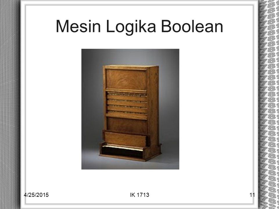 Mesin Logika Boolean 4/25/2015IK 171311