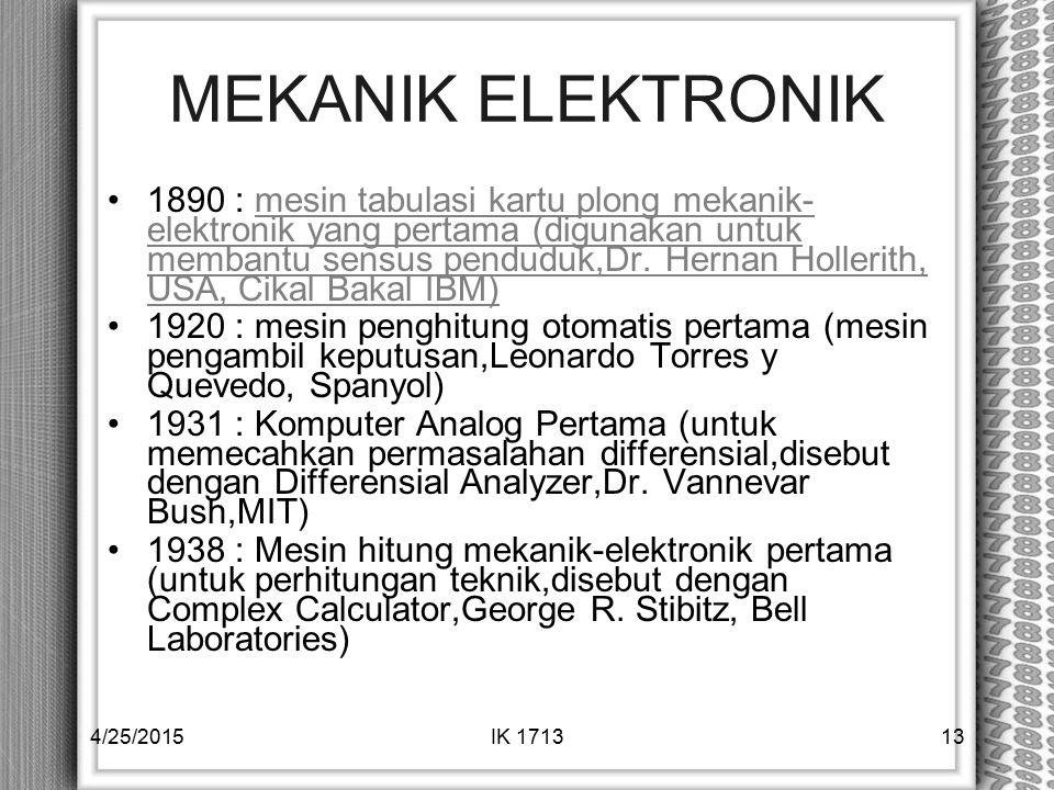 MEKANIK ELEKTRONIK 1890 : mesin tabulasi kartu plong mekanik- elektronik yang pertama (digunakan untuk membantu sensus penduduk,Dr. Hernan Hollerith,