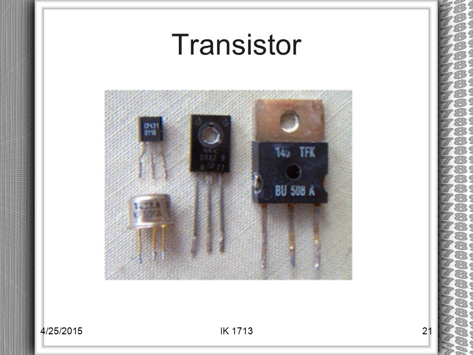 Transistor 4/25/2015IK 171321
