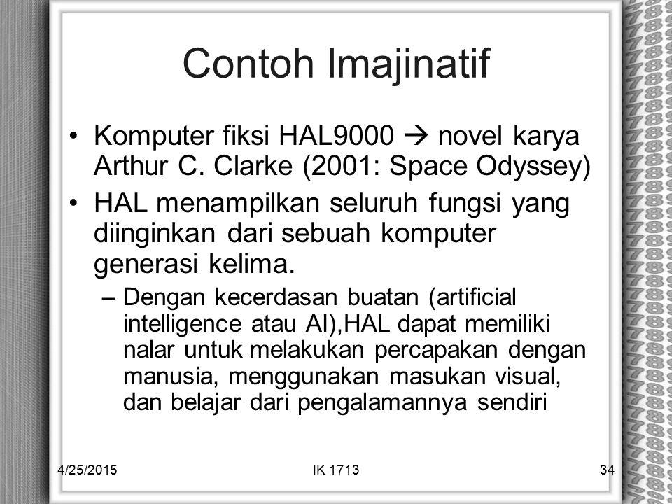 Contoh Imajinatif Komputer fiksi HAL9000  novel karya Arthur C. Clarke (2001: Space Odyssey) HAL menampilkan seluruh fungsi yang diinginkan dari sebu