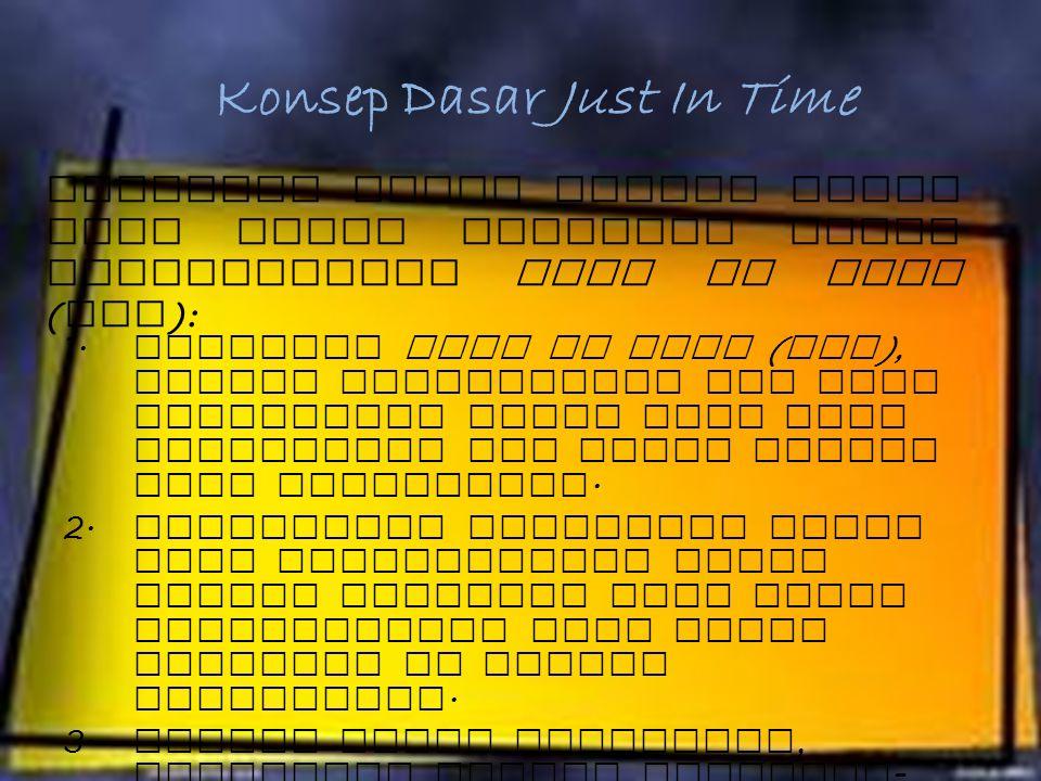Pengertian Just In Time (JIT) Sistem produksi tepat waktu (Just In Time) adalah sistem produksi atau sistem manajemen fabrikasi modern yang dikembangk