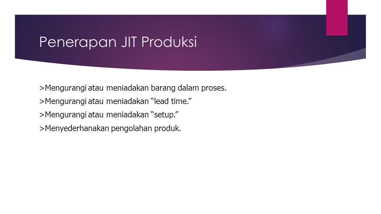 """Penerapan JIT Produksi >Mengurangi atau meniadakan barang dalam proses. >Mengurangi atau meniadakan """"lead time."""" >Mengurangi atau meniadakan """"setup."""""""