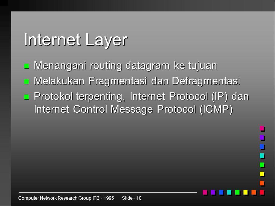 Computer Network Research Group ITB - 1995Slide - 10 Internet Layer n Menangani routing datagram ke tujuan n Melakukan Fragmentasi dan Defragmentasi n Protokol terpenting, Internet Protocol (IP) dan Internet Control Message Protocol (ICMP)