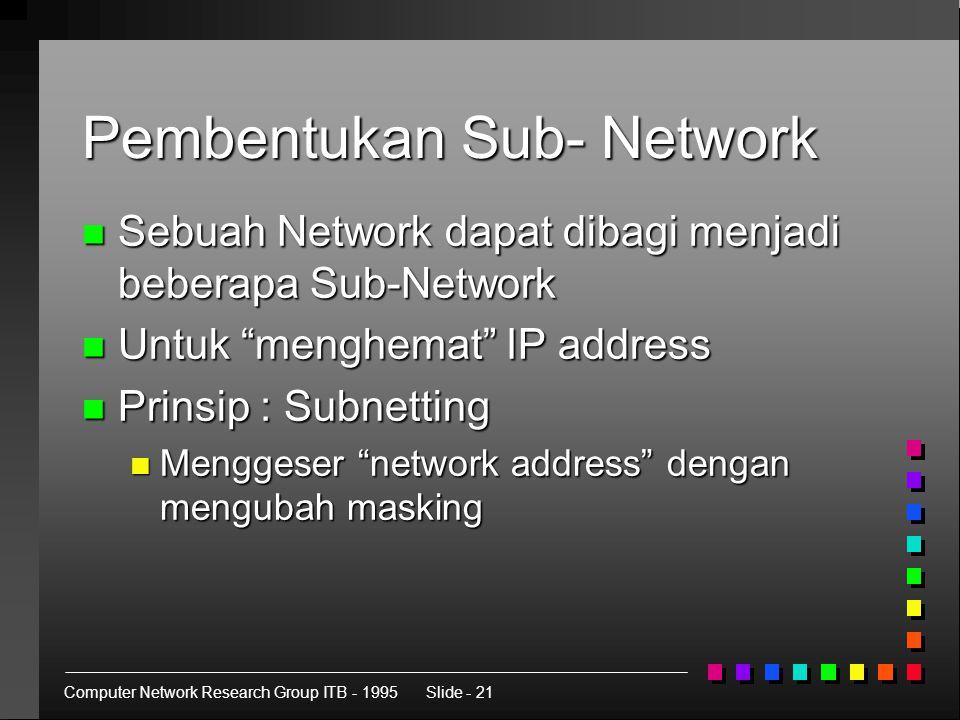 Computer Network Research Group ITB - 1995Slide - 21 Pembentukan Sub- Network n Sebuah Network dapat dibagi menjadi beberapa Sub-Network n Untuk menghemat IP address n Prinsip : Subnetting n Menggeser network address dengan mengubah masking