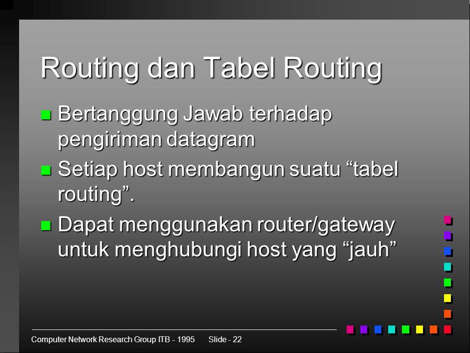 Computer Network Research Group ITB - 1995Slide - 22 Routing dan Tabel Routing n Bertanggung Jawab terhadap pengiriman datagram n Setiap host membangun suatu tabel routing .
