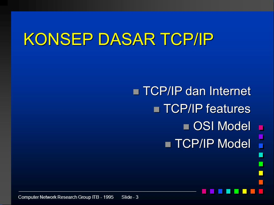 Computer Network Research Group ITB - 1995Slide - 24 Mekanisme Routing Application Transport Application Transport 128.66.12.2128.66.1.2 128.66.12.3 128.66.1.5 128.66.1.0128.66.12.0 tujuan gateway 128.66.1.0 128.66.1.5 128.66.12.0 128.66.12.3 default 128.66.12.1 tujuan gateway 128.66.1.0 128.66.12.3 128.66.12.0 128.66.12.2 default 128.66.12.1 tujuan gateway 128.66.1.0 128.66.1.2 default 128.66.12.1