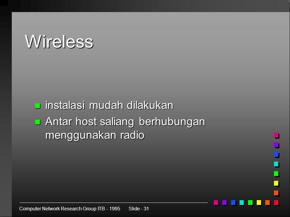 Computer Network Research Group ITB - 1995Slide - 31 Wireless n instalasi mudah dilakukan n Antar host saliang berhubungan menggunakan radio