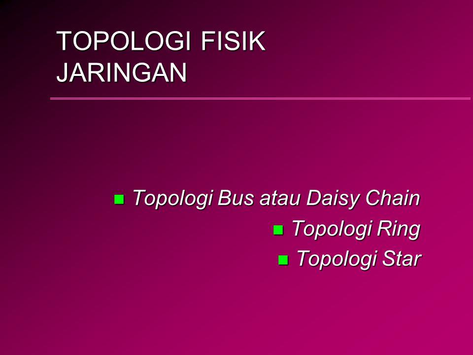 TOPOLOGI FISIK JARINGAN n Topologi Bus atau Daisy Chain n Topologi Ring n Topologi Star