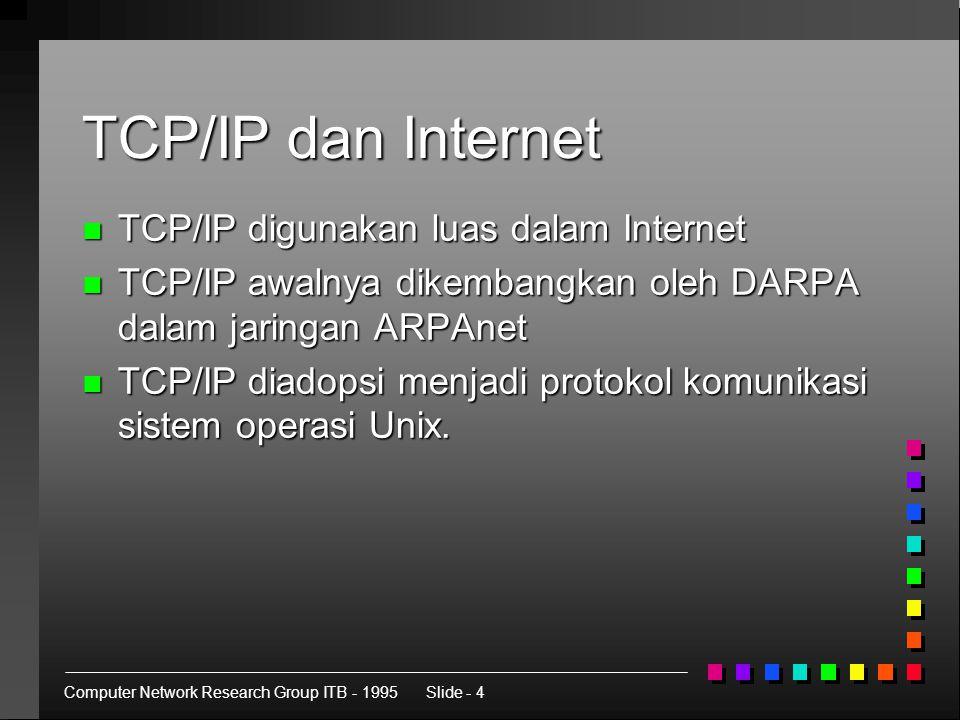 Computer Network Research Group ITB - 1995Slide - 4 TCP/IP dan Internet n TCP/IP digunakan luas dalam Internet n TCP/IP awalnya dikembangkan oleh DARPA dalam jaringan ARPAnet n TCP/IP diadopsi menjadi protokol komunikasi sistem operasi Unix.