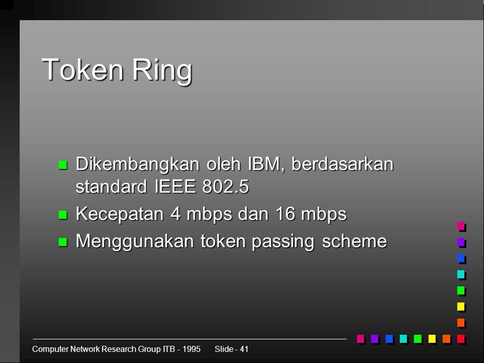 Computer Network Research Group ITB - 1995Slide - 41 Token Ring n Dikembangkan oleh IBM, berdasarkan standard IEEE 802.5 n Kecepatan 4 mbps dan 16 mbps n Menggunakan token passing scheme
