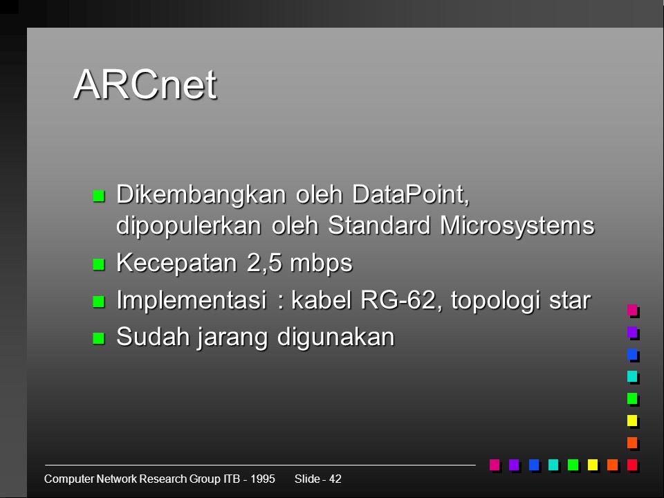 Computer Network Research Group ITB - 1995Slide - 42 ARCnet n Dikembangkan oleh DataPoint, dipopulerkan oleh Standard Microsystems n Kecepatan 2,5 mbps n Implementasi : kabel RG-62, topologi star n Sudah jarang digunakan