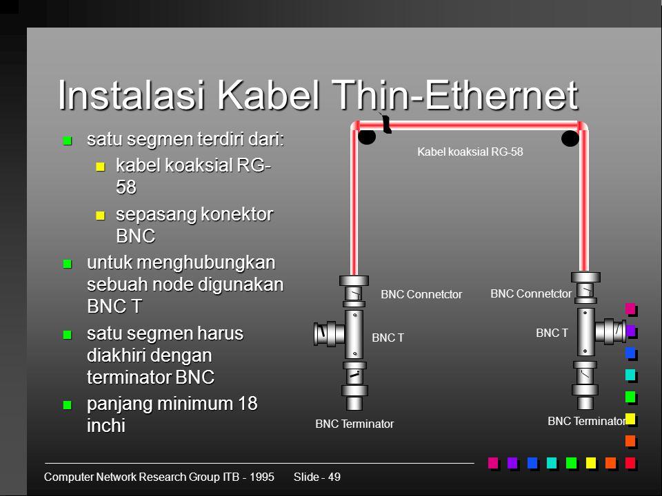 Computer Network Research Group ITB - 1995Slide - 49 Instalasi Kabel Thin-Ethernet n satu segmen terdiri dari: n kabel koaksial RG- 58 n sepasang konektor BNC n untuk menghubungkan sebuah node digunakan BNC T n satu segmen harus diakhiri dengan terminator BNC n panjang minimum 18 inchi BNC Terminator BNC T BNC Connetctor BNC Terminator BNC Connetctor BNC T Kabel koaksial RG-58