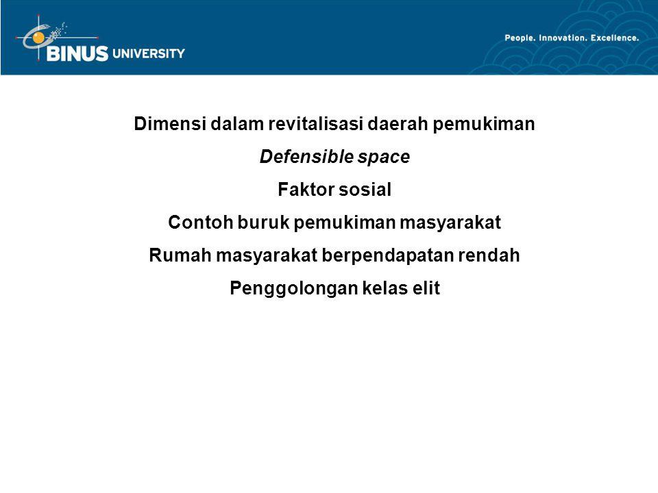 Dimensi dalam revitalisasi daerah pemukiman Defensible space Faktor sosial Contoh buruk pemukiman masyarakat Rumah masyarakat berpendapatan rendah Pen