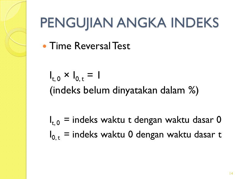 PENGUJIAN ANGKA INDEKS Time Reversal Test I t, 0 × I 0, t = 1 (indeks belum dinyatakan dalam %) I t, 0 = indeks waktu t dengan waktu dasar 0 I 0, t = indeks waktu 0 dengan waktu dasar t 14