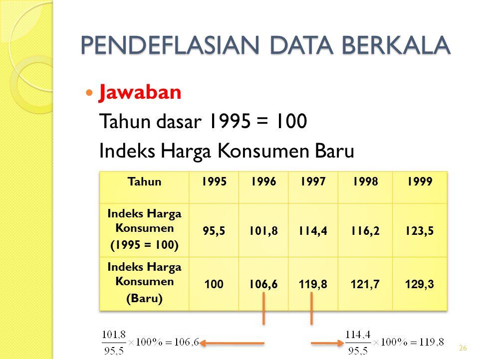 PENDEFLASIAN DATA BERKALA Jawaban Tahun dasar 1995 = 100 Indeks Harga Konsumen Baru 26