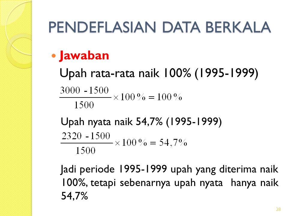 PENDEFLASIAN DATA BERKALA Jawaban Upah rata-rata naik 100% (1995-1999) Upah nyata naik 54,7% (1995-1999) Jadi periode 1995-1999 upah yang diterima nai