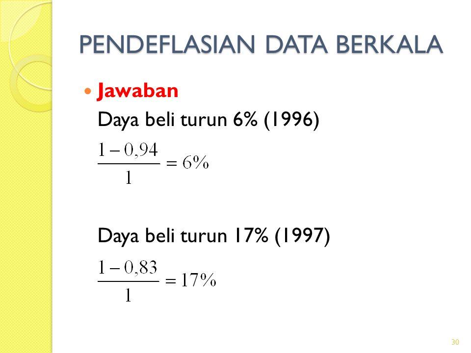 PENDEFLASIAN DATA BERKALA Jawaban Daya beli turun 6% (1996) Daya beli turun 17% (1997) 30