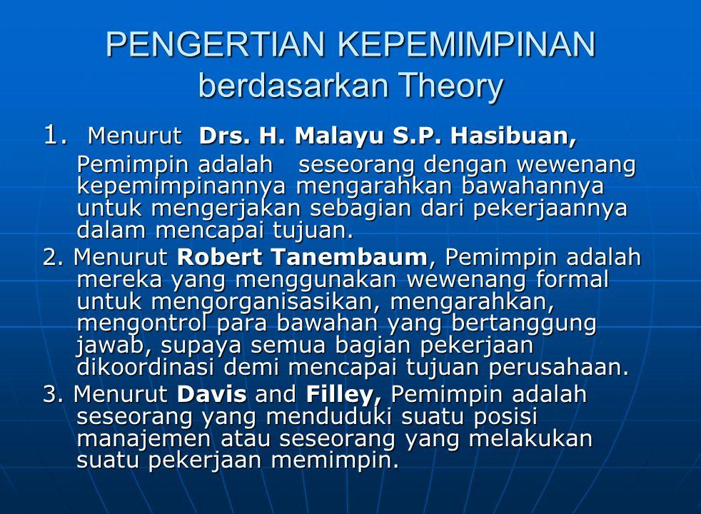 PENGERTIAN KEPEMIMPINAN berdasarkan Theory 1.Menurut Drs.