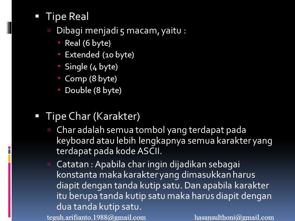  Tipe Real  Dibagi menjadi 5 macam, yaitu :  Real (6 byte)  Extended (10 byte)  Single (4 byte)  Comp (8 byte)  Double (8 byte)  Tipe Char (Karakter)  Char adalah semua tombol yang terdapat pada keyboard atau lebih lengkapnya semua karakter yang terdapat pada kode ASCII.