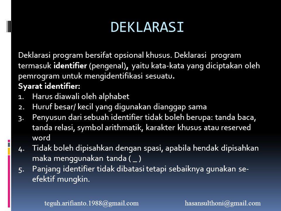 DEKLARASI Deklarasi program bersifat opsional khusus.