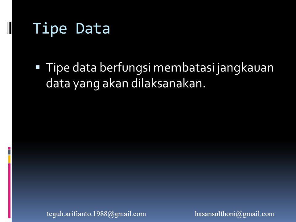 Tipe Data Integer  Operator-operator yang berlaku pada tipe data integer, yaitu :  Operator arithmatik : +, -, *, /, div, mod  Operator logic :, =, <>  Tipe data integer masih dibagi menjadi 5 tipe:  Shortint  Byte  Integer  Word  Longint teguh.arifianto.1988@gmail.comhasansulthoni@gmail.com
