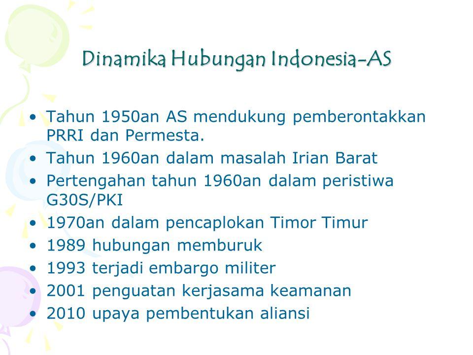 Dinamika Hubungan Indonesia-AS Tahun 1950an AS mendukung pemberontakkan PRRI dan Permesta.