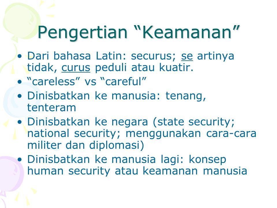 Pengertian Keamanan Dari bahasa Latin: securus; se artinya tidak, curus peduli atau kuatir.
