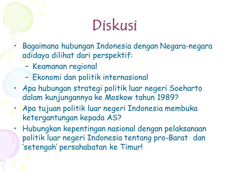 Diskusi Bagaimana hubungan Indonesia dengan Negara-negara adidaya dilihat dari perspektif: –Keamanan regional –Ekonomi dan politik internasional Apa hubungan strategi politik luar negeri Soeharto dalam kunjungannya ke Moskow tahun 1989.