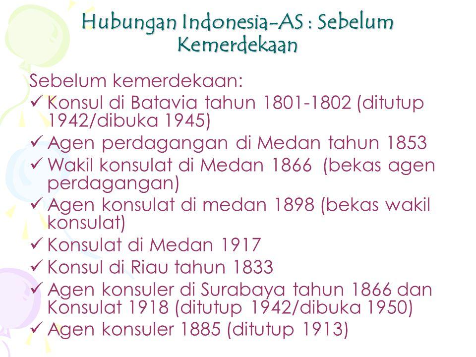 Hubungan Indonesia-AS : Sebelum Kemerdekaan Sebelum kemerdekaan: Konsul di Batavia tahun 1801-1802 (ditutup 1942/dibuka 1945) Agen perdagangan di Medan tahun 1853 Wakil konsulat di Medan 1866 (bekas agen perdagangan) Agen konsulat di medan 1898 (bekas wakil konsulat) Konsulat di Medan 1917 Konsul di Riau tahun 1833 Agen konsuler di Surabaya tahun 1866 dan Konsulat 1918 (ditutup 1942/dibuka 1950) Agen konsuler 1885 (ditutup 1913)