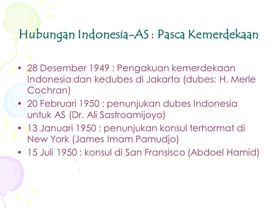 Hubungan Indonesia-AS : Pasca Kemerdekaan 28 Desember 1949 : Pengakuan kemerdekaan Indonesia dan kedubes di Jakarta (dubes: H.