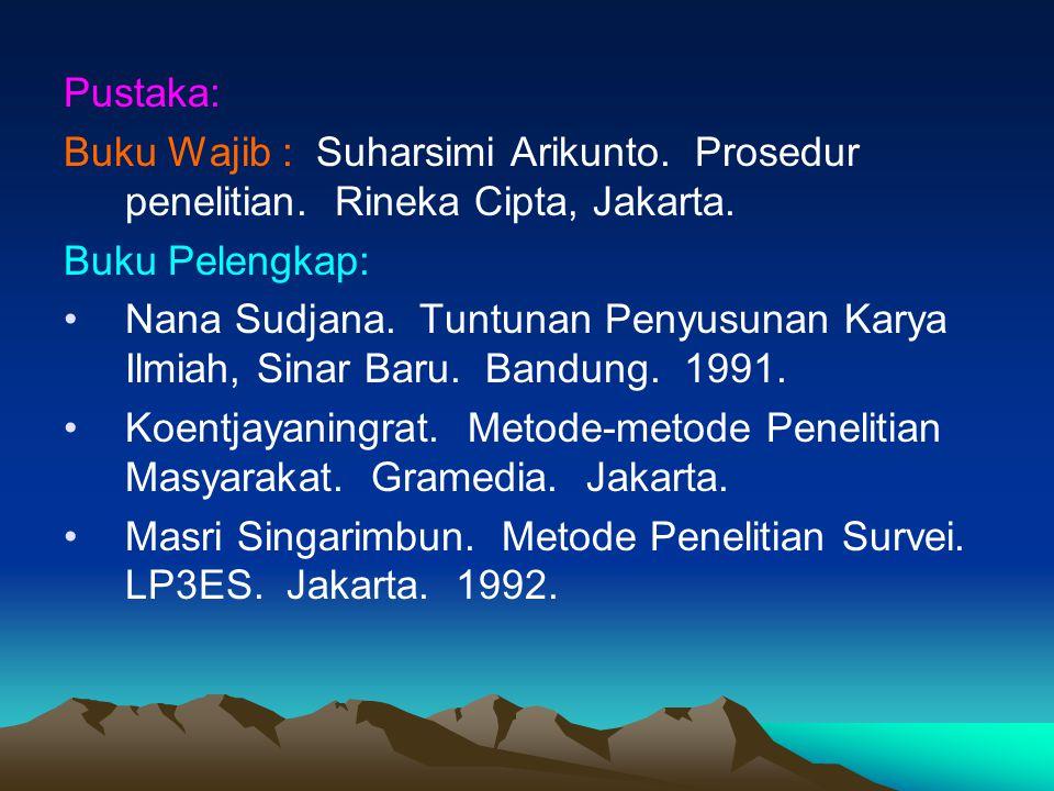 Pustaka: Buku Wajib : Suharsimi Arikunto. Prosedur penelitian. Rineka Cipta, Jakarta. Buku Pelengkap: Nana Sudjana. Tuntunan Penyusunan Karya Ilmiah,