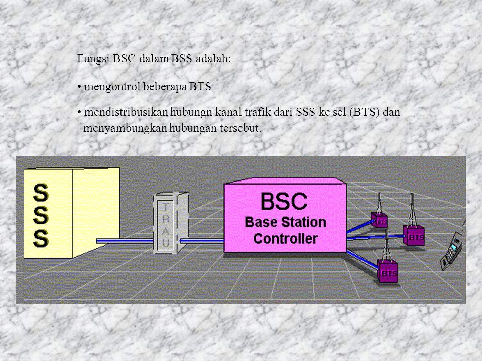 BTS melengkapi sel dengan interface radio (Um) sehingga tersedia kanal radio dan mengirimkan deskripsi parameter sel seperti kapasitas transmisi, nama sel dan sebagainya.