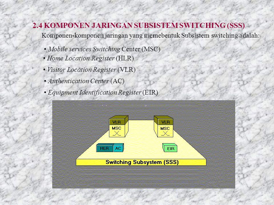 2.4 KOMPONEN JARINGAN SUBSISTEM SWITCHING (SSS) Komponen-komponen jaringan yang memebentuk Subsistem switching adalah: Mobile services Switching Center (MSC) Home Location Register (HLR) Visitor Location Register (VLR) Authentication Center (AC) Equipment Identification Register (EIR)
