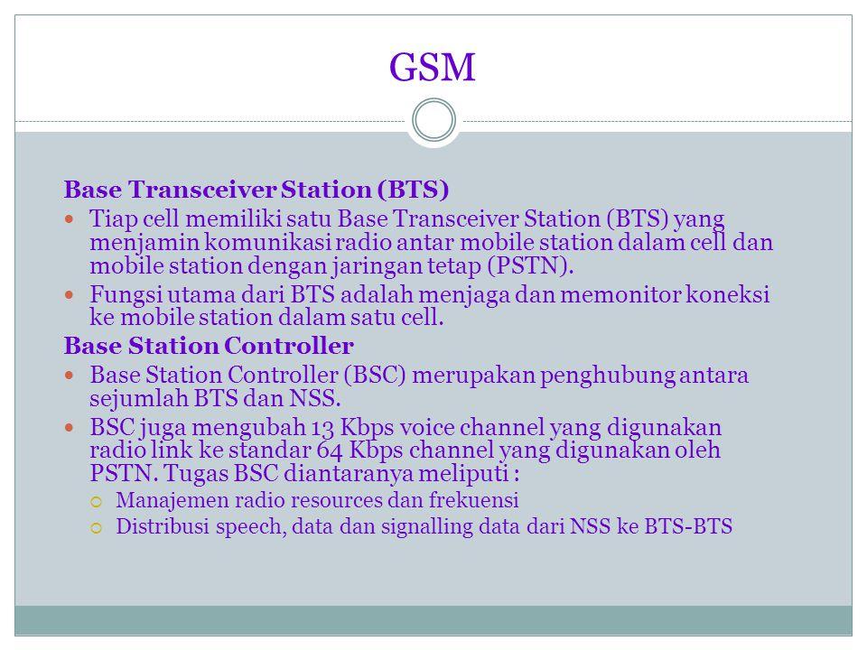 GSM Mobile Station (MS) Mobile Station (MS) merupakan peralatan bergerak yang digunakan untuk mengakses layanan telekomunikasi PLMN GSM.