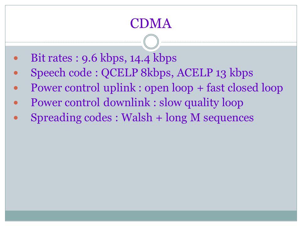 Sistem komuniasi CDMA ini mempunya spesifikasi sebagai berikut : Bandwidth: 1.25 MHz Chip Rate : 1.2288 Mcps Frek uplink : 869 - 894 MHz atau 1930 - 1990 MHz Frek downlink : 824 - 849 MHz atau 1850 -1910 MHz Frame length : 20 ms