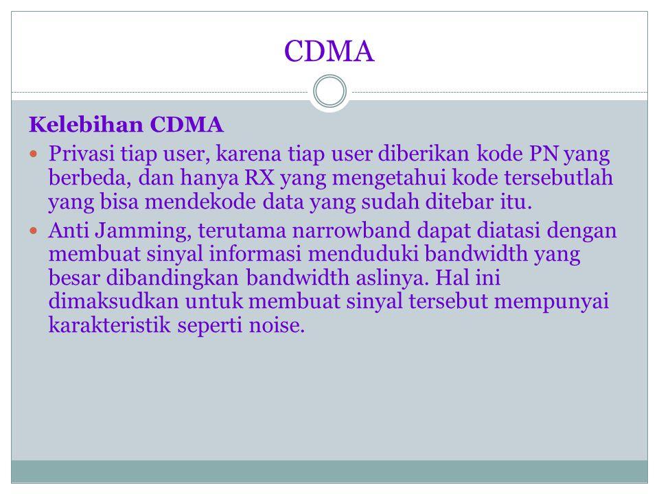 CDMA Bit rates : 9.6 kbps, 14.4 kbps Speech code : QCELP 8kbps, ACELP 13 kbps Power control uplink : open loop + fast closed loop Power control downlink : slow quality loop Spreading codes : Walsh + long M sequences