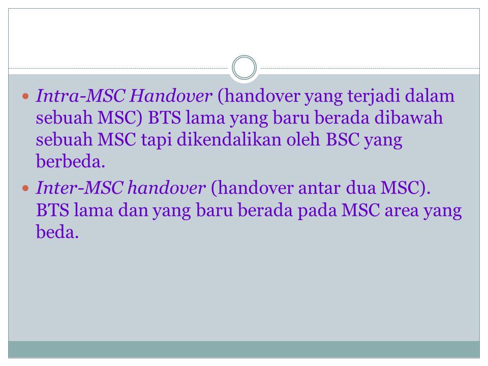 Tipe Handover : Intra cell handover, pemindahan informasi yang dikirim dari satu kanal ke kanal yang lain pada sel yang sama.