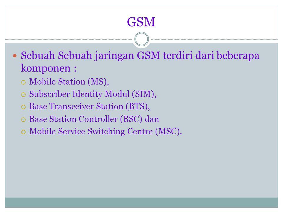Sebuah Sebuah jaringan GSM terdiri dari beberapa komponen :  Mobile Station (MS),  Subscriber Identity Modul (SIM),  Base Transceiver Station (BTS),  Base Station Controller (BSC) dan  Mobile Service Switching Centre (MSC).
