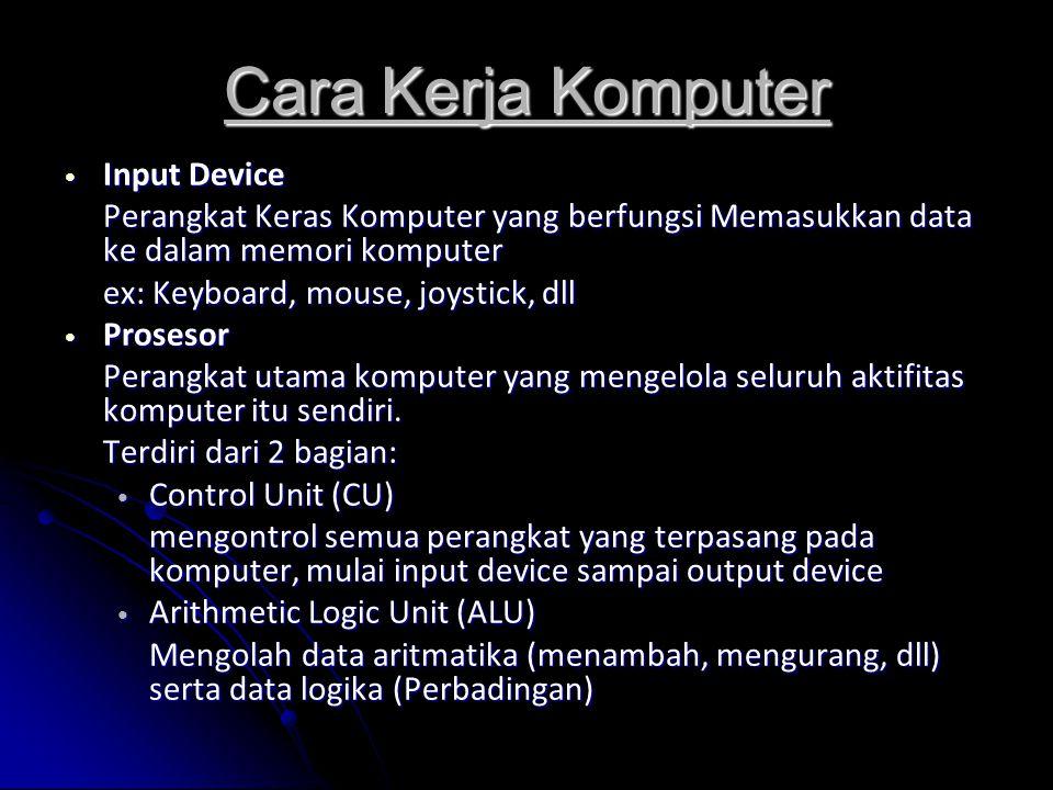 Cara Kerja Komputer Input Device Input Device Perangkat Keras Komputer yang berfungsi Memasukkan data ke dalam memori komputer ex: Keyboard, mouse, joystick, dll Prosesor Prosesor Perangkat utama komputer yang mengelola seluruh aktifitas komputer itu sendiri.