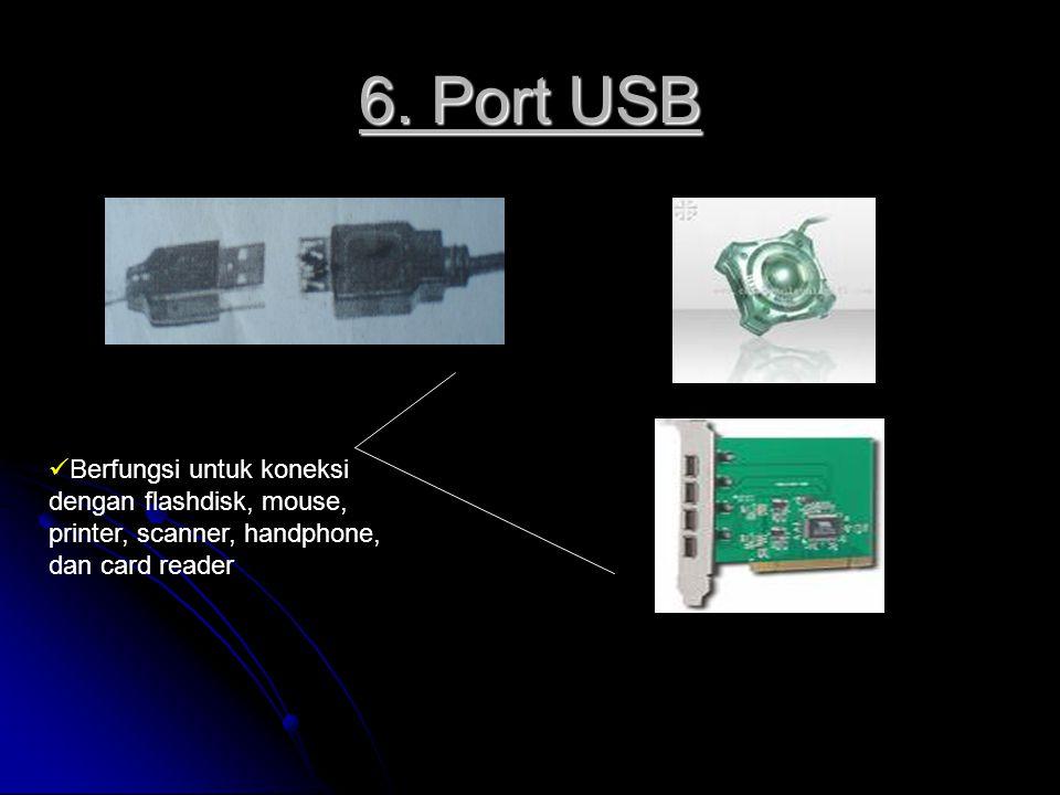 6. Port USB Berfungsi untuk koneksi dengan flashdisk, mouse, printer, scanner, handphone, dan card reader