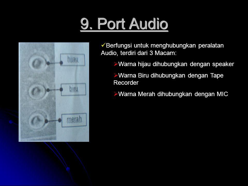 9. Port Audio Berfungsi untuk menghubungkan peralatan Audio, terdiri dari 3 Macam:  Warna hijau dihubungkan dengan speaker  Warna Biru dihubungkan d