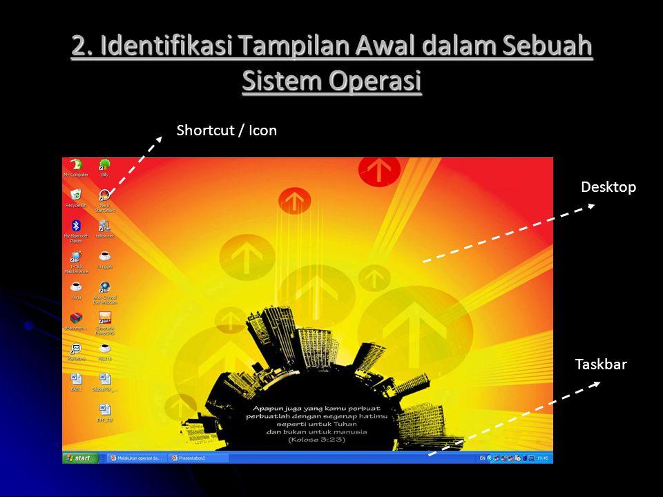 2. Identifikasi Tampilan Awal dalam Sebuah Sistem Operasi Shortcut / Icon Desktop Taskbar