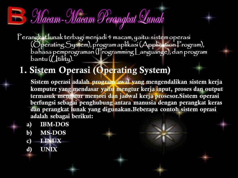 Perangkat lunak terbagi menjadi 4 macam, yaitu: sistem operasi (Operating System), program aplikasi (Application Program), bahasa pemprograman (Progra
